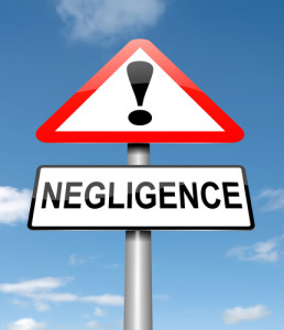 Illustration depicting a roadsign with a negligence concept. Sky background.